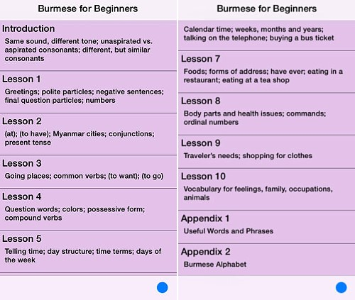 Burmese for Beginners App for iOS and Android