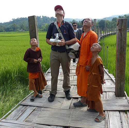 Flying the drone in Mae Hon Song